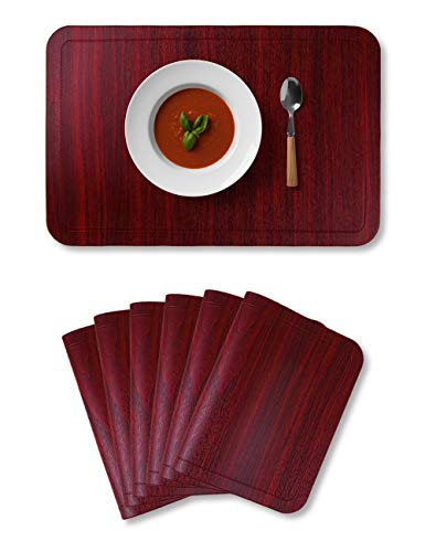 Alpiriral Dining PlaceMats Set of 6 Heat Resistant PlaceMats Easy to Wipe Off Scrub Vinyl Place Mats Washable Table Mats Protect A Table from Messes & with A Nice Looking in Cherry Red