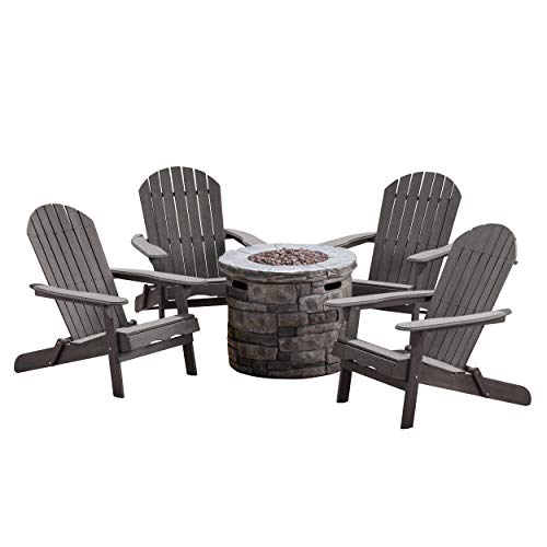 David Outdoor 5 Piece Acacia Wood/Light Weight Concrete Adirondack Chair Set with Fire Pit, Dark Grey Finish and Grey Finish