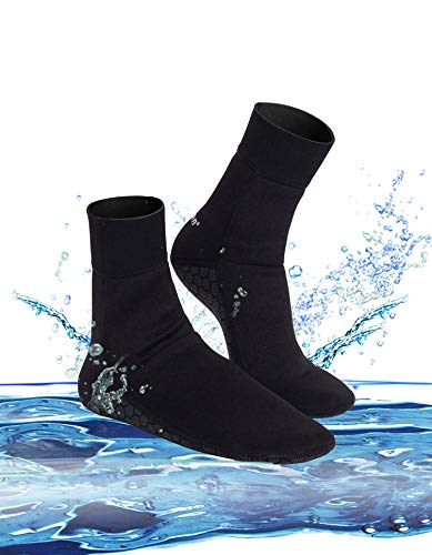 Snorkel Surf Wetsuit Dive Scuba - Junlan Water Shoes Beach Socks Neoprene Diving Boots Scuba Snorkel Booties Surfing Wetsuit Sports Waterproof for Men Women (Black, L)