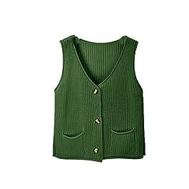 Jumojufol Women's Elegant Knit Buttons Jacket Waistcoat Sweater Vests with Pockets