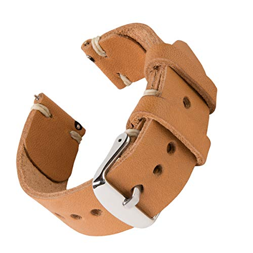 Archer Watch Straps   Handmade Horween Leather Quick Release Replacement Watch Bands for Men and Women, Watches and Smartwatches (Moc/Natural, ()