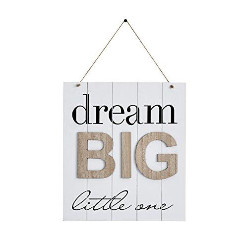 (Danya B KS18909B Children's Inspirational Quote Wooden Wall Decor Plaque - Dream Big Little One)