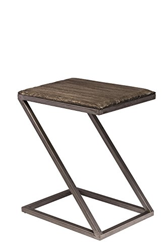 - Hillsdale Furniture 5731-903 Lorient Z Shape Accent Table, Washed Charcoal/Aged Steel Metal Finish