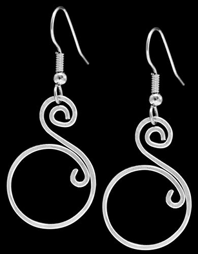 Handcrafted Double Swirl Silver Earrings on French style Earwire, Surgical Steel Earwire for Sensitive Ears, Hypoallergenic, Lightweight, Unique ()