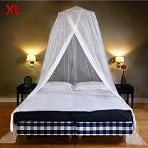 EVEN Naturals Luxury MOSQUITO NET for Bed, Largest: for Single to King Size, Finest Holes: Mesh 380, Fly Net Bell, Bed Canopy Curtain Netting, 2 Entries, Quick Easy Installation, Storage Bag, No Chemicals Added