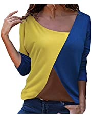 Meikosks Women's Color Block T Shirt Long Sleeve Patchwork Tops Loose Casual Blouses Pullover