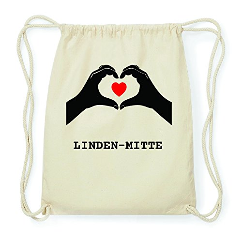 JOllify LINDEN-MITTE Hipster Turnbeutel Tasche Rucksack aus Baumwolle - Farbe: natur Design: Hände Herz