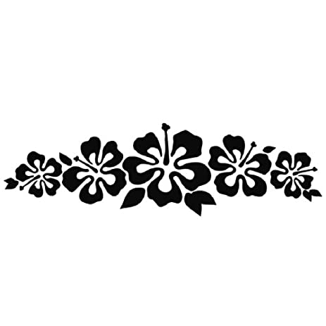 Hibiscus band vinyl sticker flower decal hawaii black flower lei