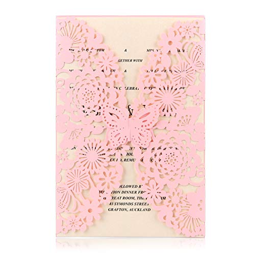 BingGoGo 30x Pearl Paper Laser Cut Invitations , For Baby Shower, Wedding, Mother's Day ,Brides Bridal Shower, Graduation Celebration, Birthday, Party Invitation,Thank You Cards (Pink)