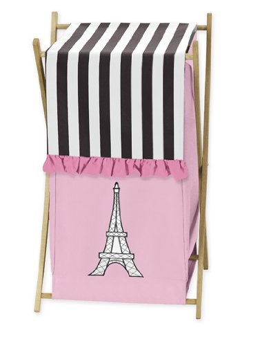 Sweet Jojo Designs Childrens/Kids Clothes Laundry Hamper for Pink, Black and White Paris French Eifell Tower Bedding by Sweet Jojo Designs