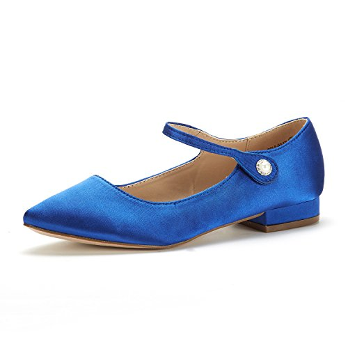 (DREAM PAIRS Women's Sole_Silky Royal Blue Fashion Low Stacked Ankle Straps Flats Shoes Size 9 M US)