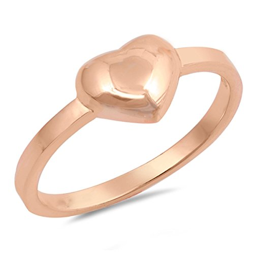 (Prime Jewelry Collection Sterling Silver Women's Promise Rose Gold-Tone Puffed Heart Ring (Sizes 4-12) (Ring Size 12))