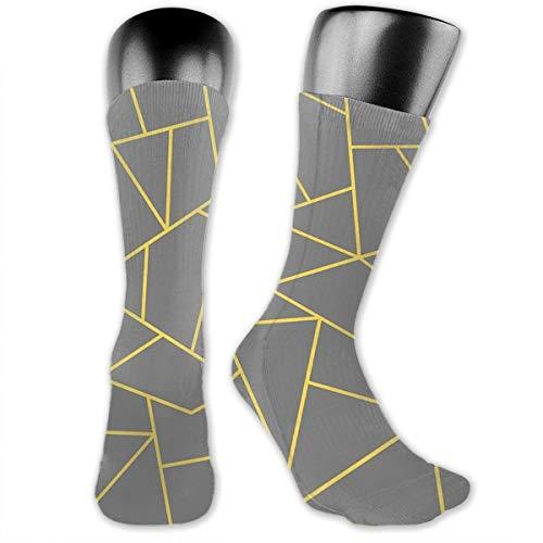 Mustard Yellow Mosaic Lines On Darker Gray Stockings In Running Ventilation(2 Packs)