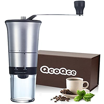 QcoQce Manual Coffee Grinder - Adjustable Hand Grinder - Ceramic Conical Burr Mill - Mini Portable Home Kitchen Travel Coffee Bean Grinder / Coffee Mill - Perfect Gift for Every Coffee Lover from JCQ