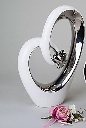 Deko Weiß Silber.Amazon De Formano Deko Herz Weiss Silber Mit Kleinem Herz