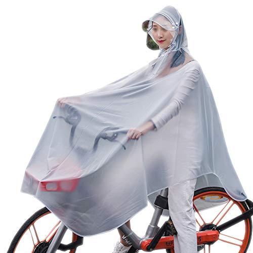 KM Outdoor&Sports Bicycle Poncho Adult Translucent Poncho Reusable Fashion Single Raincoat Hooded Transparent Mask Poncho (White)