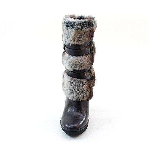 Nieuwe Brieten Dames Kunstbont Gespen Hoge Hak Platform Korte Laarzen