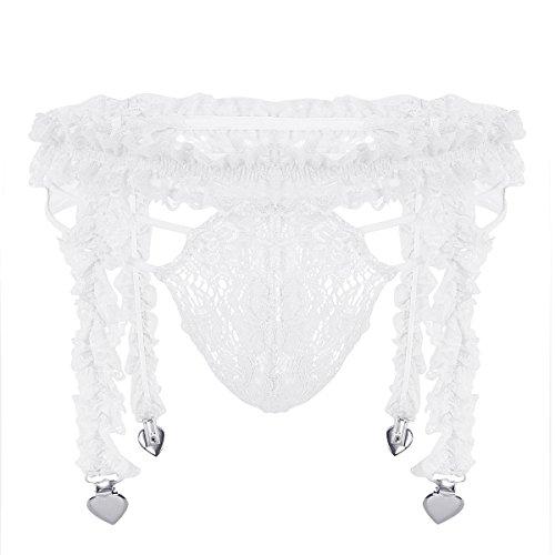 Agoky Men's Sexy Lace Lingerie Sissy G-String Thongs Briefs Underwear with 4 Heart Garter Clip White Medium (Waist 29.0