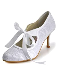 ElegantPark A3039-3 High Heel Round Toe Mary-Janes Women Evening Pumps Satin Lace Wedding Bridal Shoes