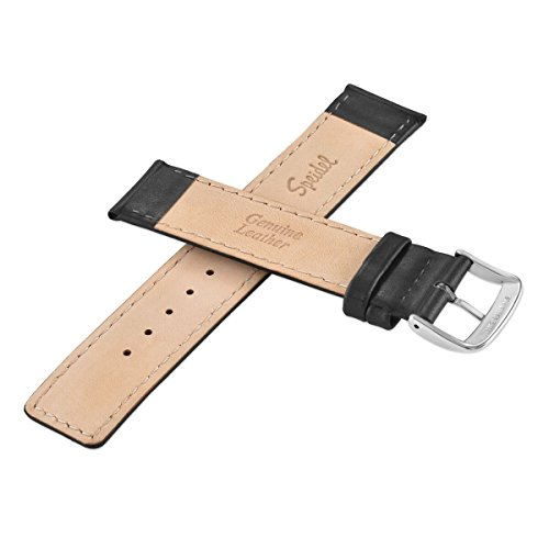 Speidel Genuine Leather Square Tip Watch Band 20mm Long Black Oiled Leather Replacement Strap, Stainless Steel Metal Buckle Clasp, Watchband Fits Most Watch Brands by Speidel (Image #3)