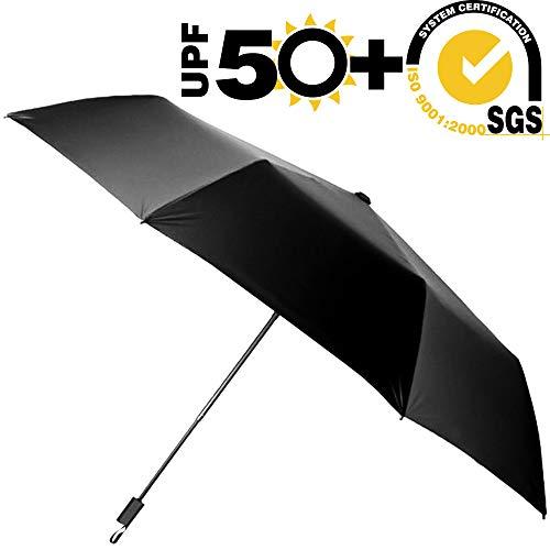 ABCCANOPY Umbrella Compact Rain&Wind Teflon Repellent Umbrellas Sun Protection with Black Glue Coating Travel Folding Umbrella, Blocking UV 99.98%