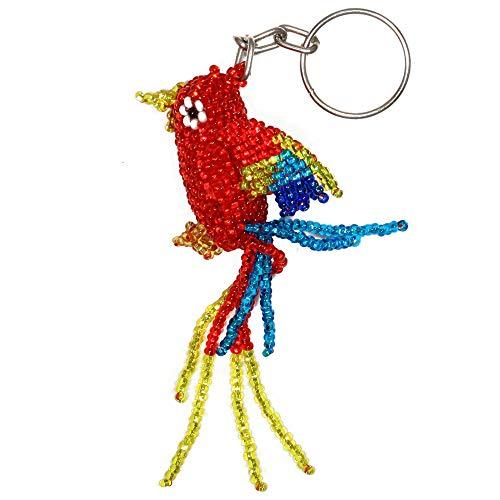 Beaded Artisan Jewelry - Parrot Keychain Six 6 Pack Lot Wholesale Artisan Glass Beaded Jewelry Key Ring Guatemala Artisan