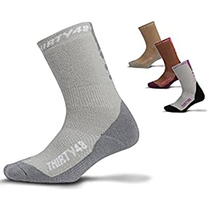 Premium Hiking Socks by Thirty48 :: Cushioned Anti-Bacterial Vegan Wool :: HK Series :: Thermal Performance Crew Socks :: Anti-Odor Moisture Wicking Poly :: Best Socks for Hiking, Mountain Climbing, Winter, Outdoor, Boots, Camping, Travel :: Money Back Guarantee Gray/Gray Small
