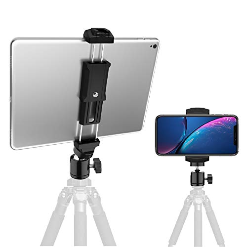 iPad and Phone Tripod Mount Adapter with Swivel Ball Head, Rotating tablet holder for tripod, Universal for Smartphone…