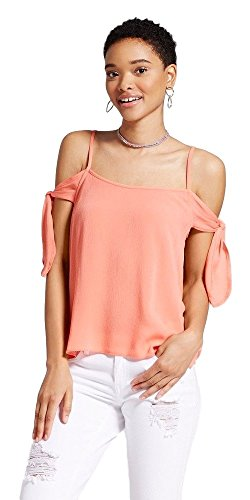 Masked Brand Mossimo Women's Woven Cold Shoulder Top (Osage Solid, - Osage Women