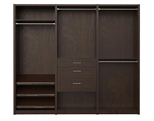 """6109440 SpaceCreations 96"""" Wood Closet Organizer Kit Inch, Premier Dark Java"""