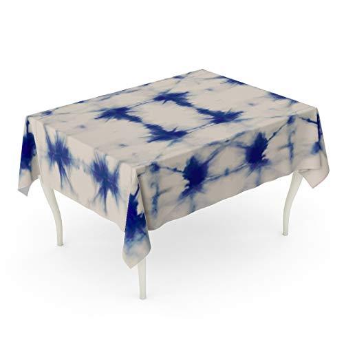 Tarolo Rectangle Tablecloth 60 x 84 Inch Watercolour Tie Dye Shibori Ink Japanese Modern Batik Watercolor Indigo Endless Natural Abstract Table Cloth