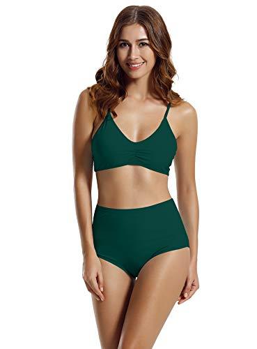 zeraca Women's High Waisted Bottom Halter Racerback Bikini Bathing Suits (FBA) (Medium / 10, Everglade ()