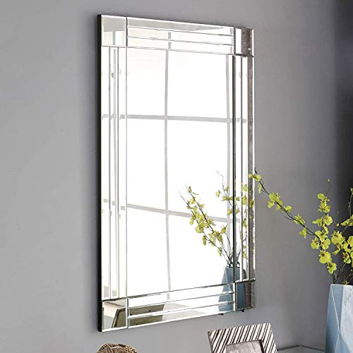 GA Home Large Wall Mounted Squared Mirror, Modern Boho Decor for The -