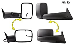 YITAMOTOR Towing Mirrors for 94-97 Dodge Ram 1500 2500 3500 Tow Mirrors Power Tow Manual Flipup with Bracket Pair Set Side Mirrors