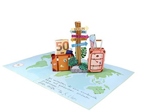 41 SDFcjGZL MOKIO® Pop-Up Reisegutschein – 3D Gutscheinkarte zum Urlaub, Geburtstag oder Abschied – Geldgeschenk für Urlaubsgeld…