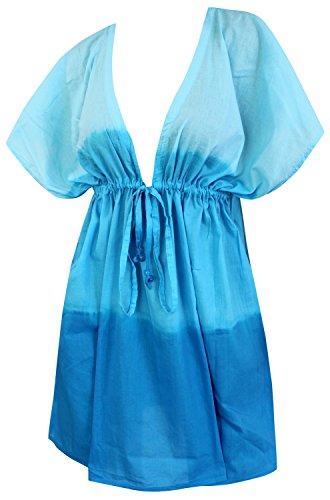 La Leela bata de playa y de lazo de la mano de tinte suave de algodón traje de baño cubre a las mujeres kaftan crucero azul