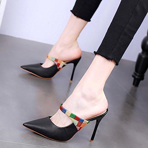 Delgada Tacones KPHY Genial Media Zapatos Color black Sexy Verano Baotou Puntiagudo 11Cm Zapatillas De Desgaste Moda Tacon HXYwHr