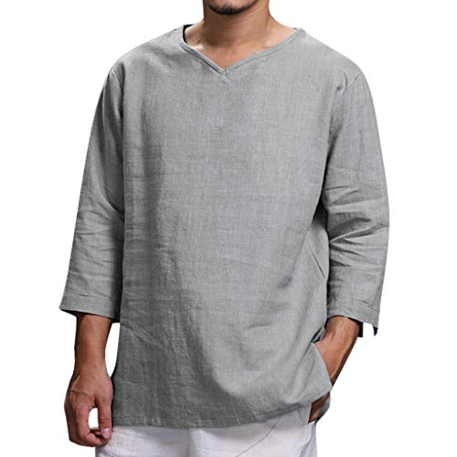 LUCAMORE Mens Linen Henley Shirts 3/4 Sleeve Loose Casual Summer Solid T Shirts Gray
