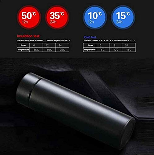Inshere Smart Temperature Measuring Mug LED Touch Display Temperature Water Bottle Water Cup (Black)