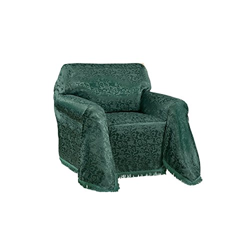 Collections Etc Alexandria Scroll Furniture Throw Cover w/Fringe Trim, Hunter Green, -