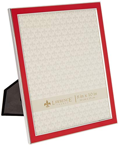 Polished Red Enamel - Lawrence Frames Silver Plated 8 by 10 Metal with Red Enamel Picture Frame