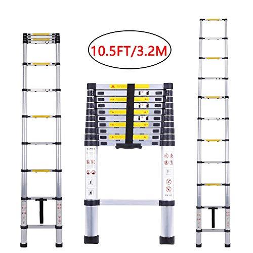 Escalera telescópica de aluminio multiusos de 10,5 pies para trabajos en el techo, plegable y extensible
