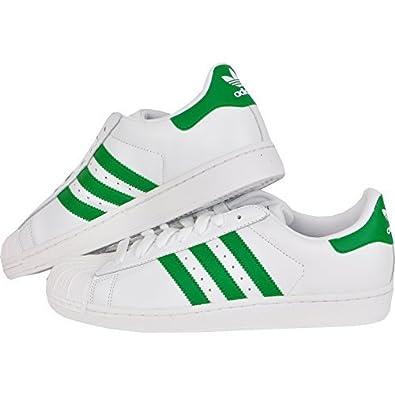 Adidas Originals Superstar 2 Ii W Baskets/chaussures Homme Grandes Tailles Blanc Vert - Blanc, 54 2/3 Eu / 18 Uk