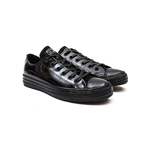 Converse Donna Nero All Star Low Patent Cuoio Sneaker-UK 6