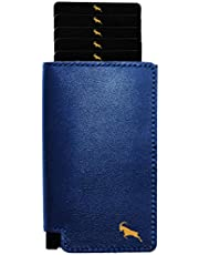 OMARCO Wallet | RFID Blocking | Pop up Wallet | Premium Top Grain Luxury Genuine Leather | Slim Wallet | Aluminium Business Card Holder | Fast Card Access (Navy & Gold)