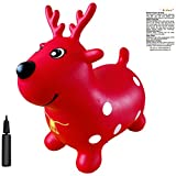 AppleRound Red Reindeer Bouncer with Hand Pump, Inflatable Space Hopper, Ride-on Bouncy Animal