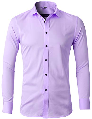 INFLATION Mens Dress Shirts Bamboo Fiber Slim Fit Long Sleeve Casual Button Down Shirts Wrinkle Free Dress Shirts for Men Light Purple