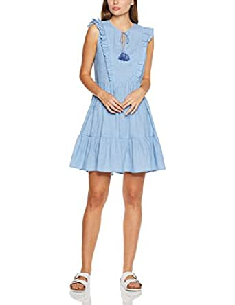 French Connection Women's Frill Sleeve Tassel Dress,Sky Blue ,10
