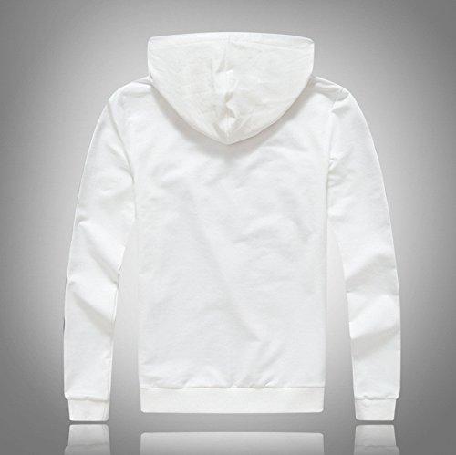 Coreana Pullover Sau La Minimalista Zipper Cappuccio Versione Moda Bianco Uomo felpa Con Di xl Maglione Sport gqv5wTIv