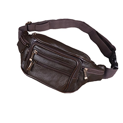 Mens Genuine Leather Running Sport Waist Hip Bum Pack Drop Chest Bag Pouch (Dark - Shopping Ave 5th